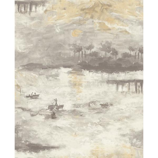 Nautical Sunset Smoke, Metallic Gold, and Ivory Paper Strippable Roll (Covers 56.05 sq. ft.)