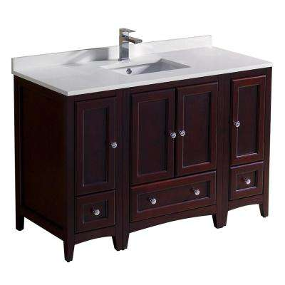 Oxford 48 in. Bath Vanity in Mahogany with Quartz Stone Vanity Top in White with White Basin