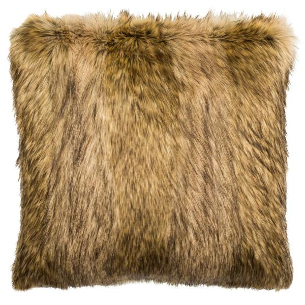 Golden Noir Brown and Champagne Solid Faux Fur Down Alternative 20 in. x 20 in. Throw Pillow
