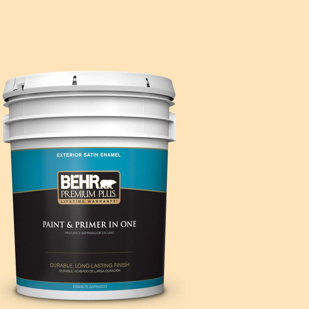 BEHR Premium Plus 5-gal. #BIC-28 Butter Creme Satin Enamel Exterior Paint