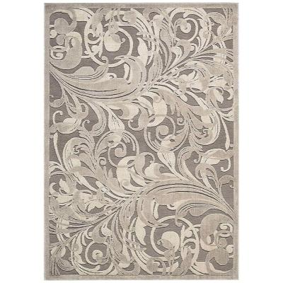 Graphic Illusions Grey/Camel 4 ft. x 6 ft. Floral Contemporary Area Rug