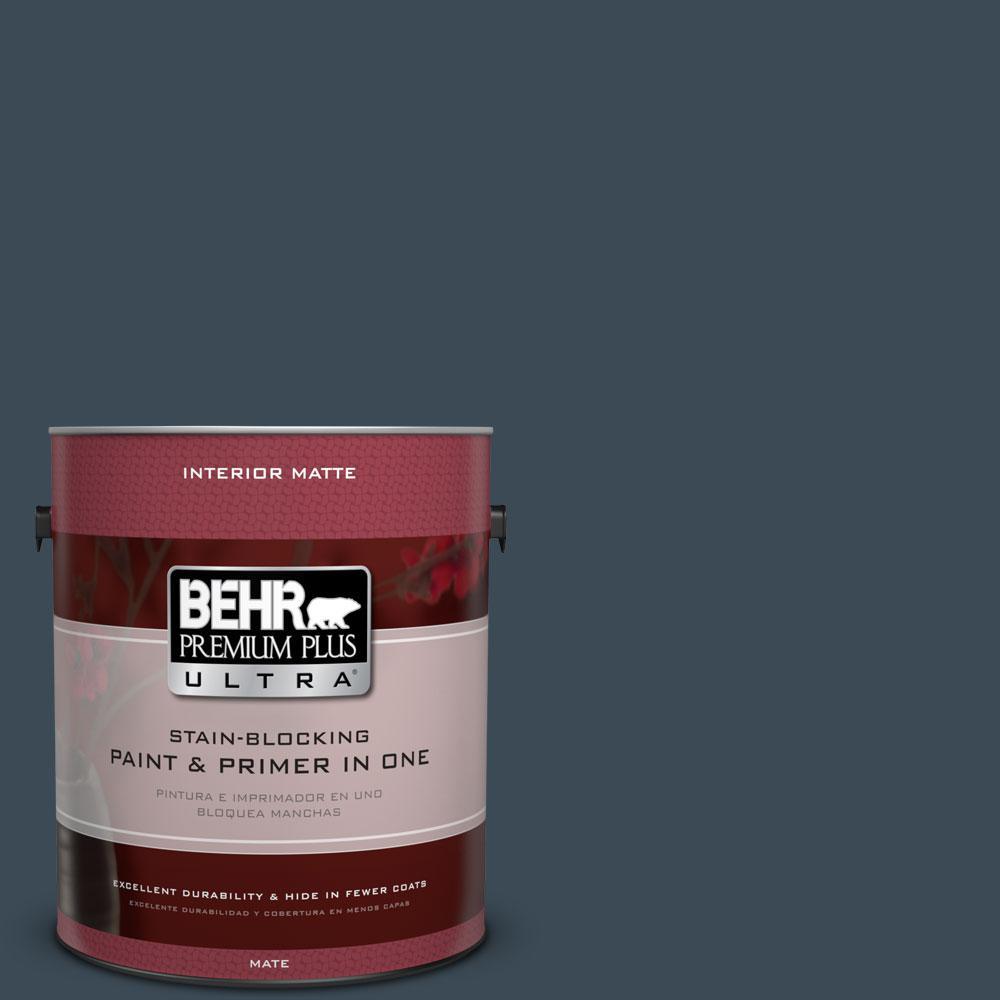 BEHR Premium Plus Ultra 1 gal. #BXC-26 New Navy Blue Matte Interior Paint