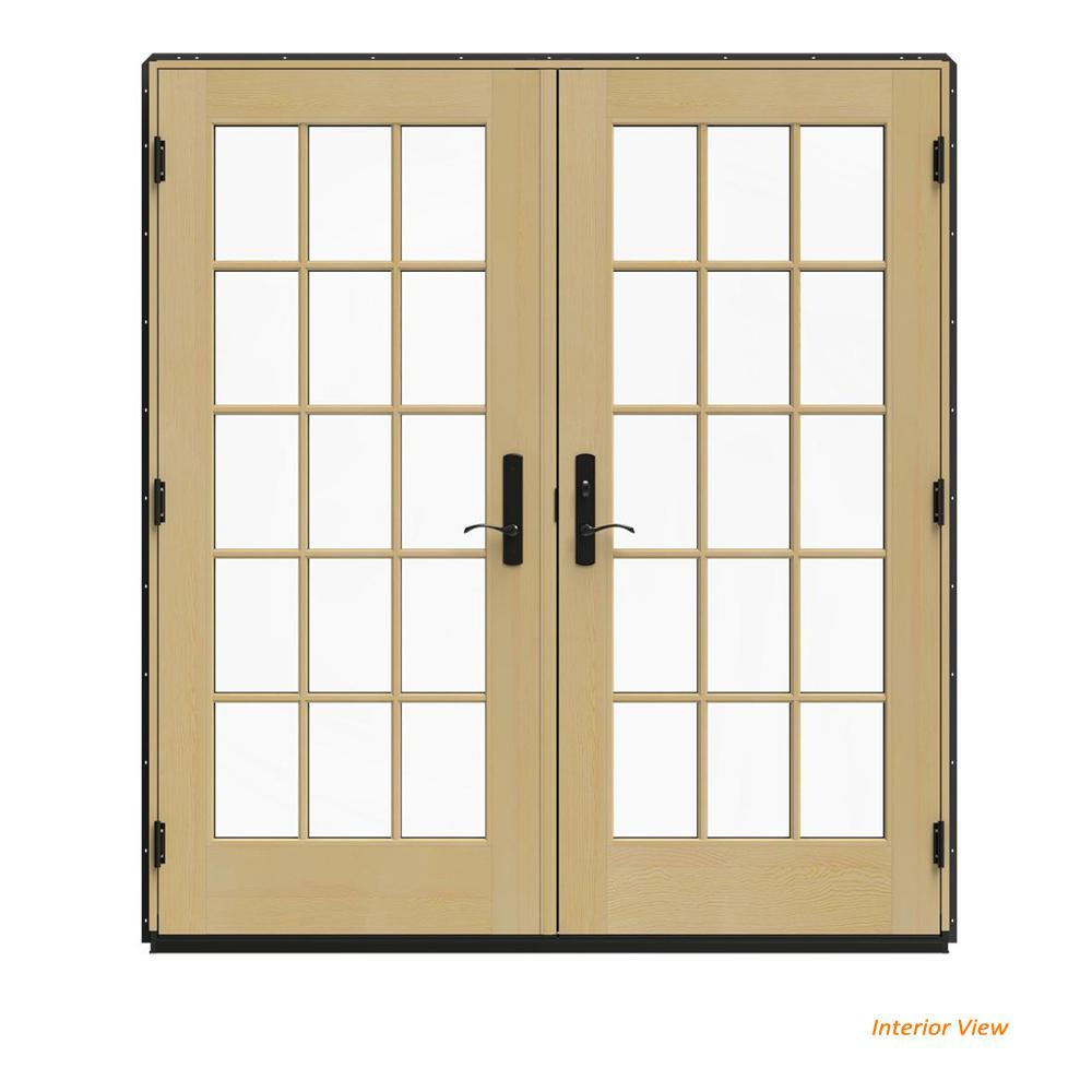 72 in. x 80 in. W-4500 Bronze Clad Wood Left-Hand 15 Lite French Patio Door w/Unfinished Interior