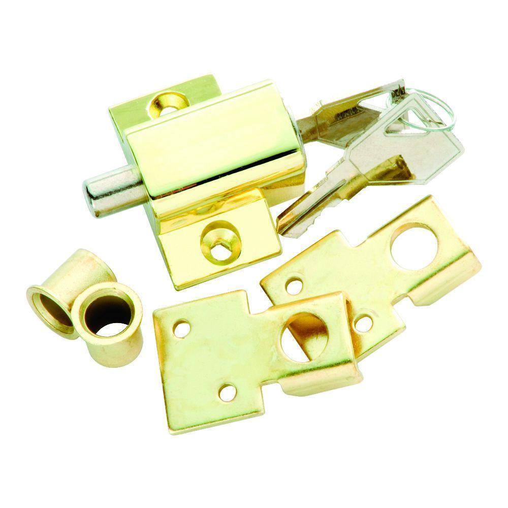 Polished Brass Keyed Patio Lock