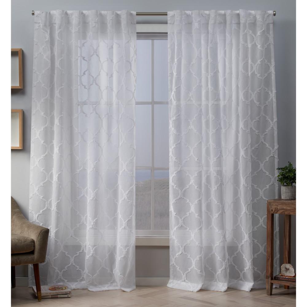 Aberdeen 54 in. W x 84 in. L Sheer Hidden Tab Top Curtain Panel in White (2 Panels)