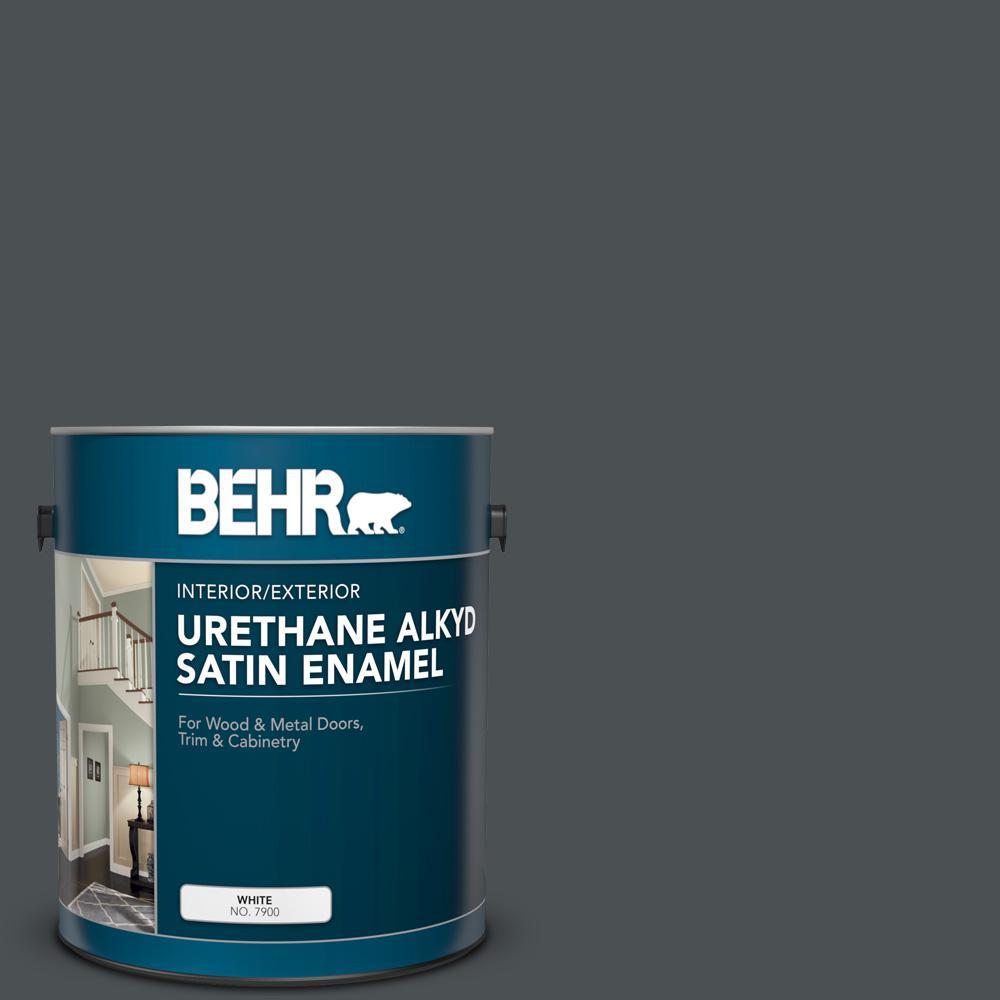 1 gal. #PPU18-01 Cracked Pepper Urethane Alkyd Satin Enamel Interior/Exterior Paint