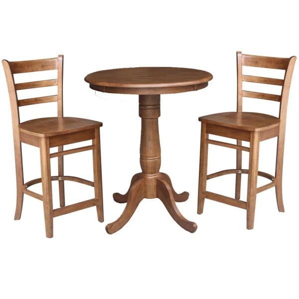 3-Piece 30 in. Bourbon Oak Round Counter Height Dining Table and 2-Stools