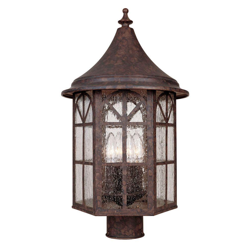 Illumine 4-Light Post Lantern New Tortoise Shell Finish Pale Cream Textured Glass