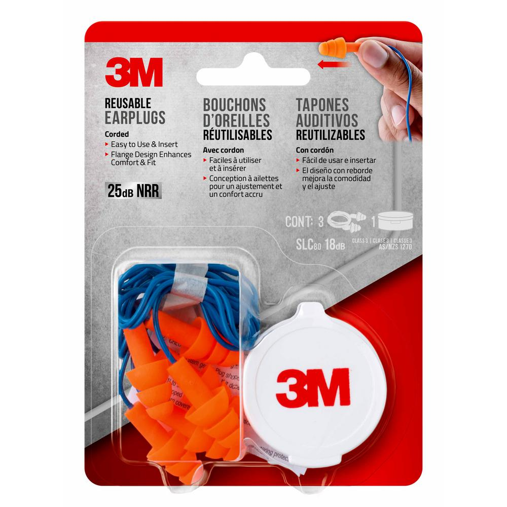 3M Reusable Corded Earplugs (3-Pack)