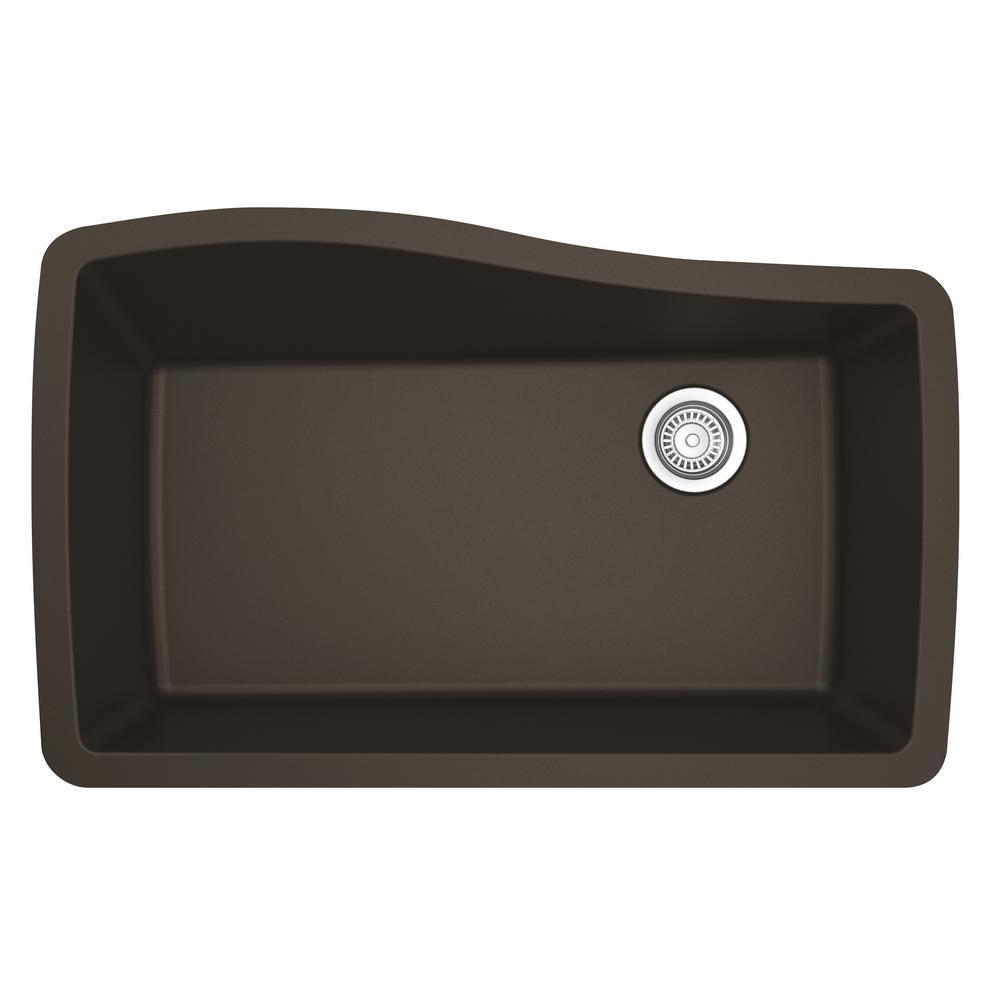 Undermount Quartz Composite 33 in. Single Bowl Kitchen Sink in Brown