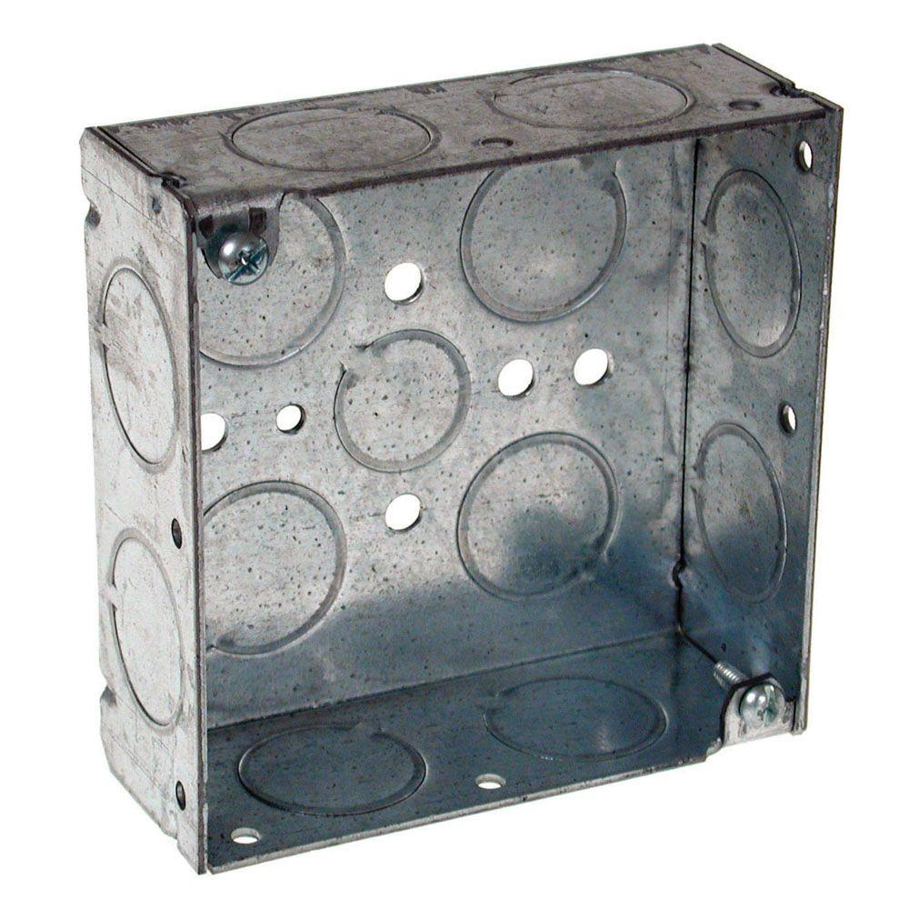 4 in. Square Box, Welded, 1-1/2 in. Deep with 1/2 in.