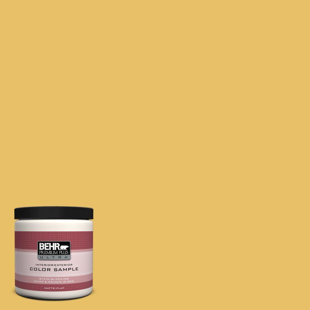 BEHR Premium Plus Ultra 8 oz. #360D-5 Golden Chalice Flat Interior/Exterior Paint and Primer in One Sample