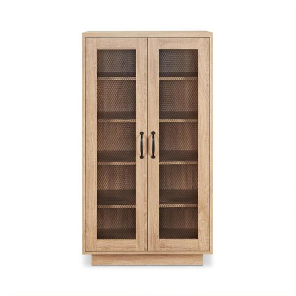 Acme Furniture Glines 10-Pairs Weathered Light Oak Wood Shoe Storage Cabinet