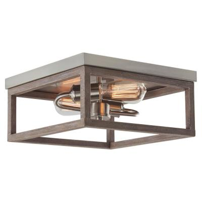 Boswell Quarter 12.5 in. 2-Light Brushed Nickel Flush Mount with Painted Weathered Gray Wood Accents