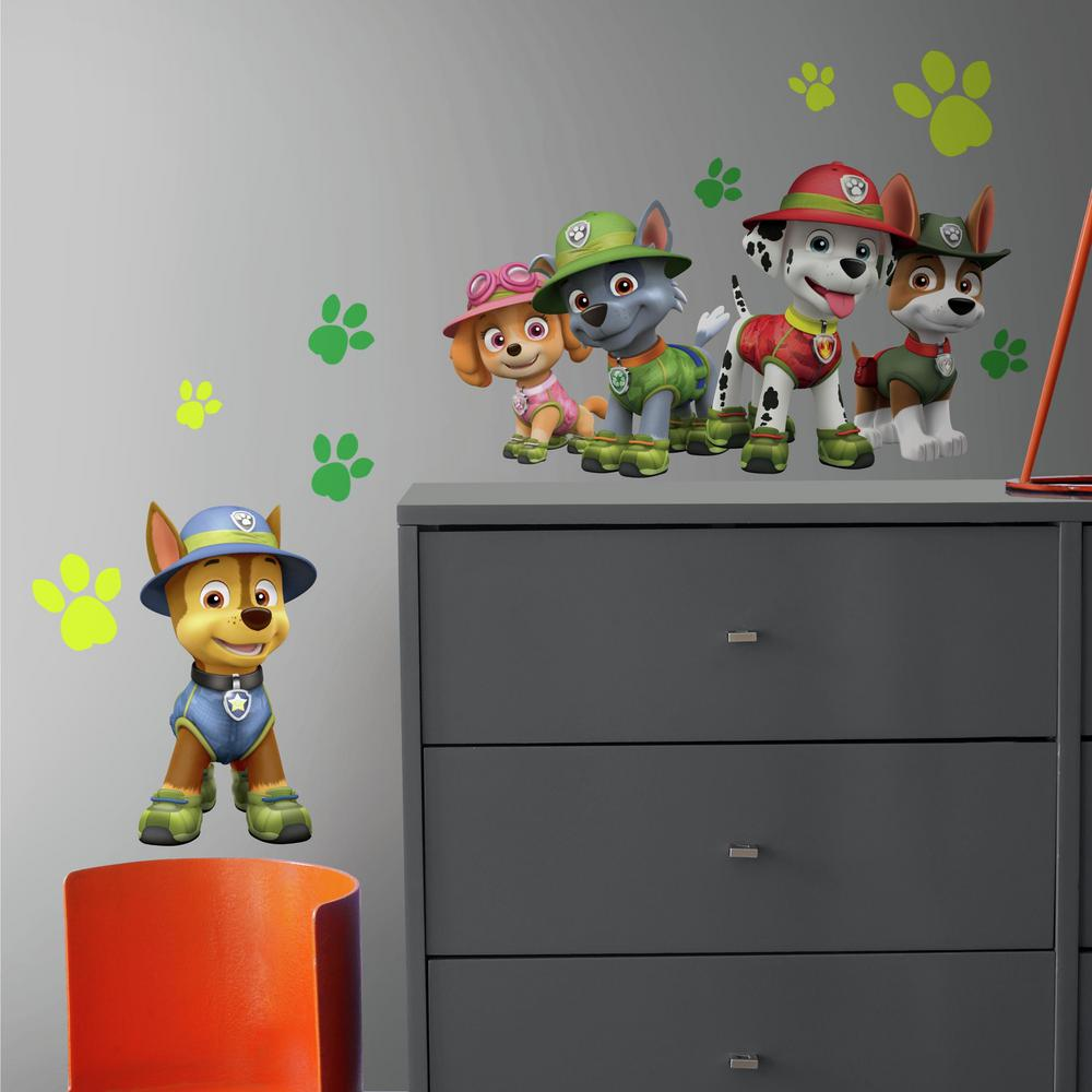 Paw patrol jungle 15 piece peel and stick giant wall decals rmk3611gm the home depot