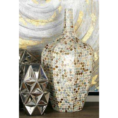 24 in. Natural Beige and Gray Shell and Polystone Decorative Vase