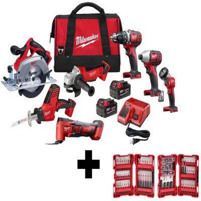 M18 18-Volt Lithium-Ion Cordless Combo Tool Kit (7-Tool) with Two 3.0 Ah Batteries and SHOCKWAVE Bit Set (100-Piece)