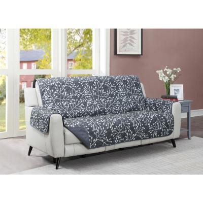 Branches 1-Piece Graphite Microfiber Relaxed Fit Sofa Furniture Protector