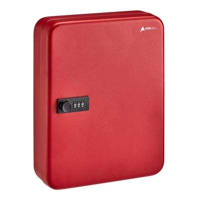 60-Key Steel Heavy-Duty Cabinet with Combination Lock, Red