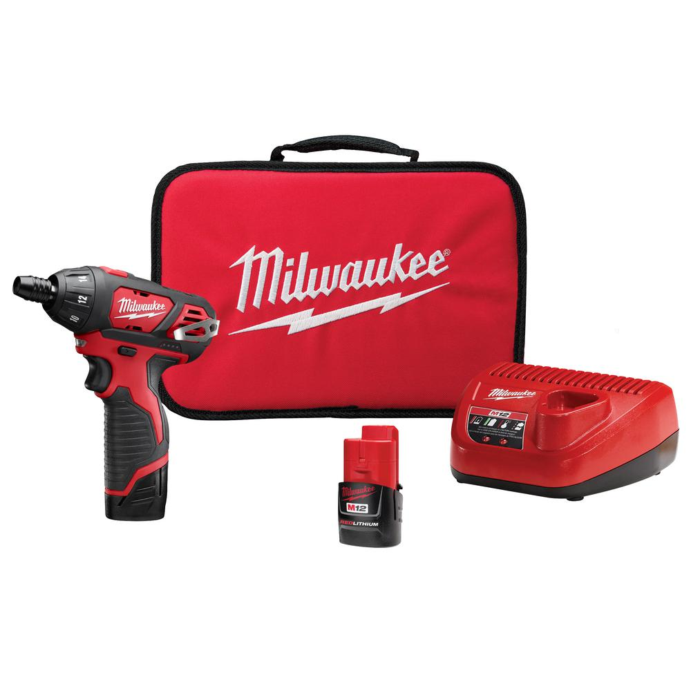 M12 12-Volt Lithium-Ion Cordless 1/4 in. Hex Screwdriver Kit W/(2) 1.5Ah