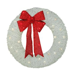 Red And White Christmas Wreath.36 In Pre Lit White And Red Christmas Wreath