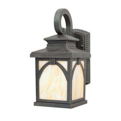 1-Light Rust on Cast Aluminum Exterior Wall Lantern Sconce with Tiffany Art Glass Panels