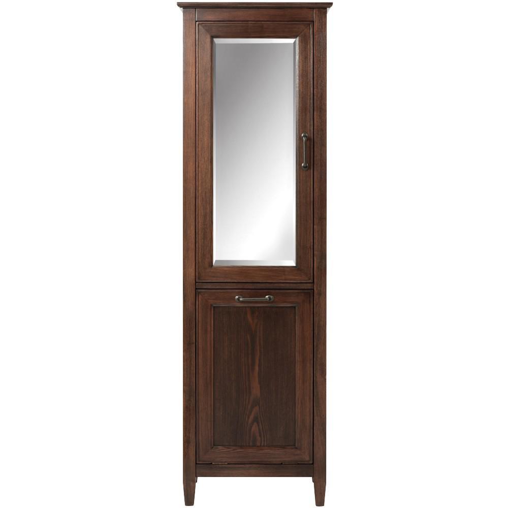 Walden 23 in. W x 67-1/2 in. H x 15 in. D Bathroom Linen and Hamper Storage Cabinet in Mocha