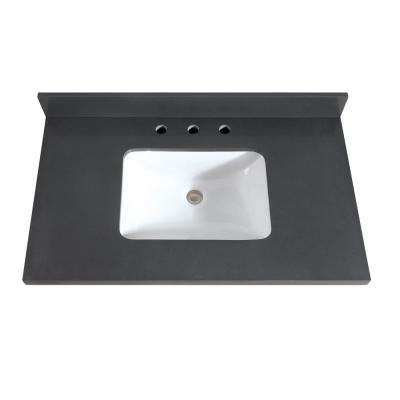37 in. W x 22 in. D x 1.5 in. H Quartz Vanity Top in Gray