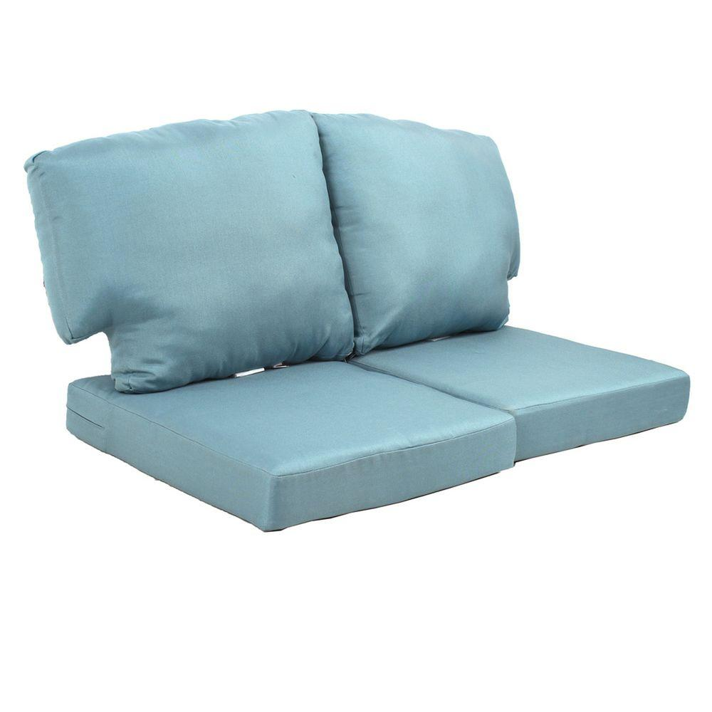 Martha Stewart Living Charlottetown Washed Blue Replacement Outdoor Loveseat Cushion 89 65603 The Home Depot