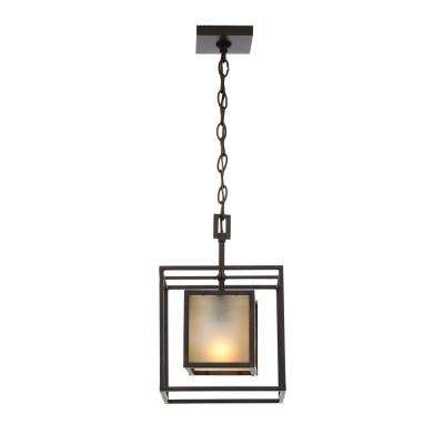 Hilden Collection 1-Light Aged Bronze Hanging Pendant with Tea Glass Shade