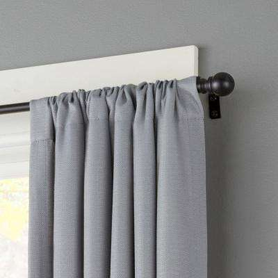 Davenport 28 in. - 48 in. Telescoping 1/2 in. Curtain Rod Kit in Black with Ball Finial