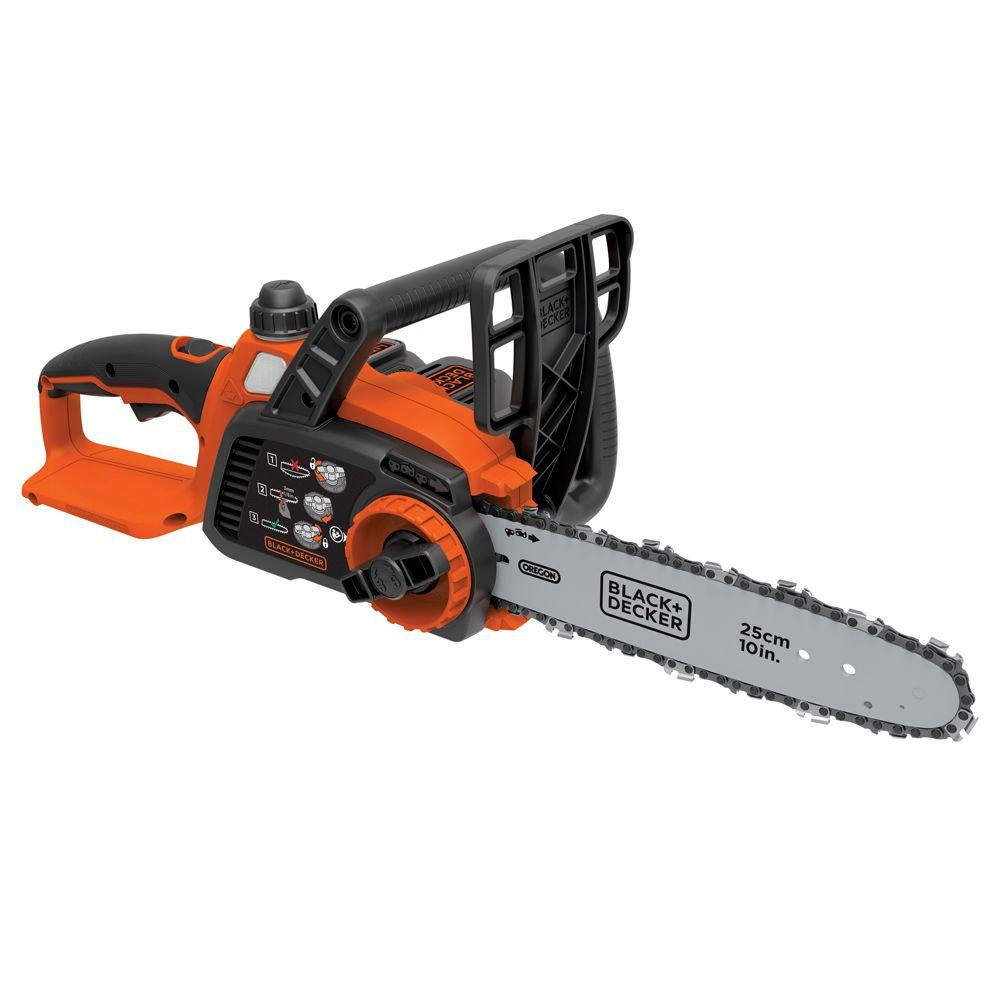 Blackdecker 10 in 20 volt max lithium ion cordless chainsaw with 20 volt max lithium ion cordless chainsaw with greentooth