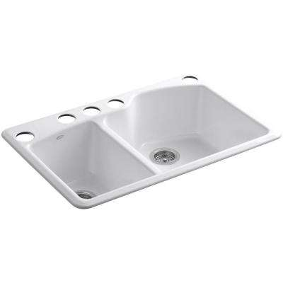 Wheatland Undermount Cast-Iron 33 in. 5-Hole Double Bowl Kitchen Sink in White