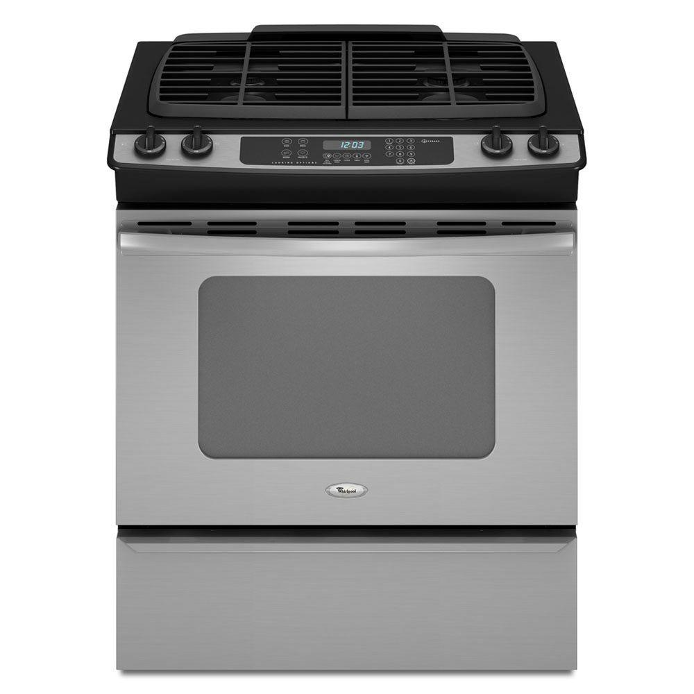 Whirlpool Gold 4.5 cu. ft. Slide-In Gas Range with Self-Cleaning Convection Oven in Stainless Steel