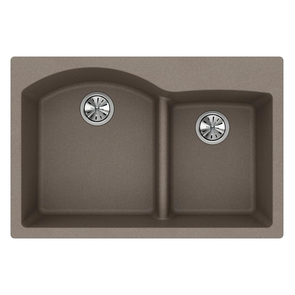 Elkay Quartz Classic Drop-In Composite 33 in. Rounded Offset Double Bowl Kitchen Sink in Greige