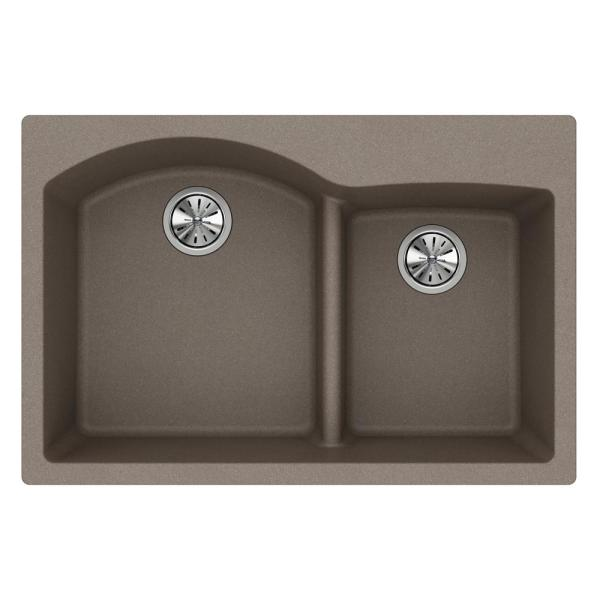 Quartz Classic Drop-In Composite 33 in. Rounded Offset Double Bowl Kitchen Sink in Greige