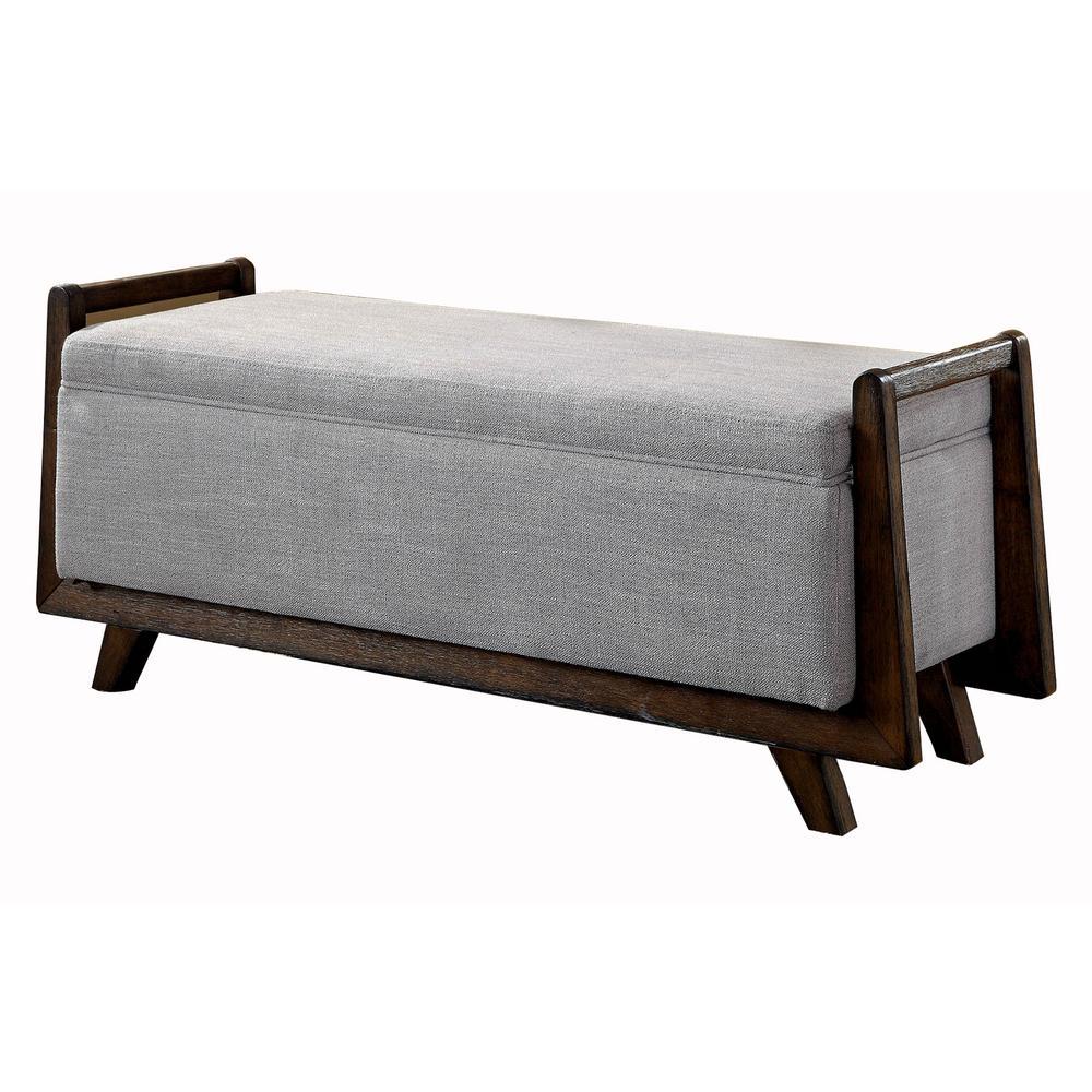 Finn Light Gray Contemporary Style Storage Bench
