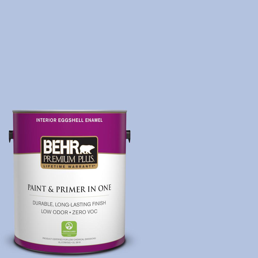 BEHR Premium Plus 1-gal. #600C-3 Periwinkle Bud Zero VOC Eggshell Enamel Interior Paint