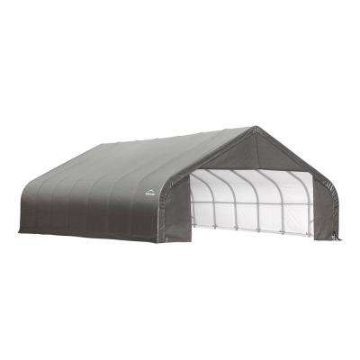 30 ft. x 24 ft. x 16 ft. Grey Steel and Polyethylene Garage Without Floor