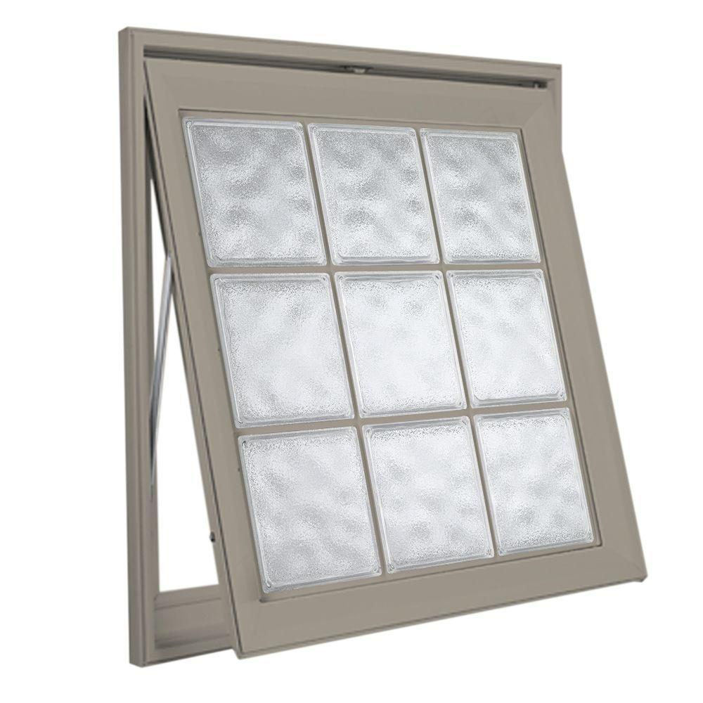 Hy-Lite 37 in. x 37 in. Acrylic Block Awning Vinyl Window - Tan