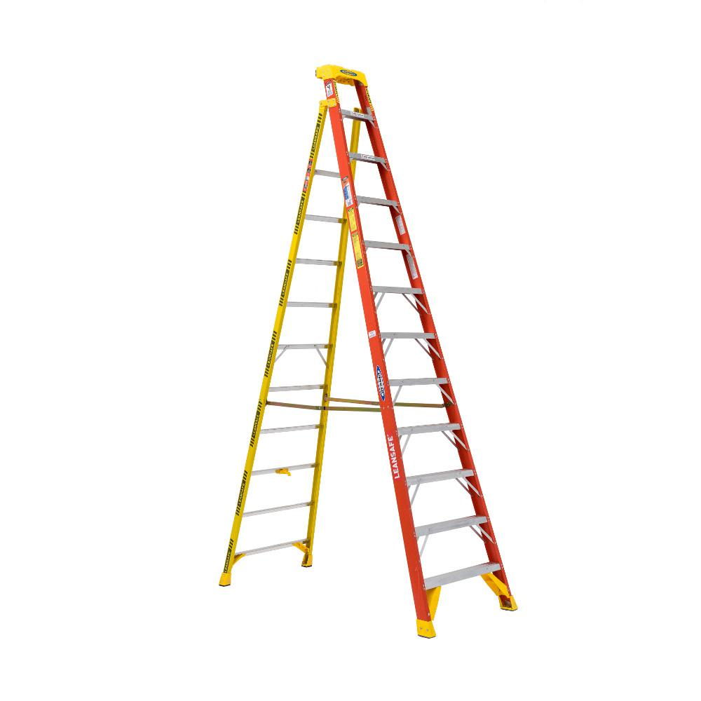 werner leansafe 12 ft fiberglass leaning step ladder with 300 lbs load capacity type ia duty. Black Bedroom Furniture Sets. Home Design Ideas
