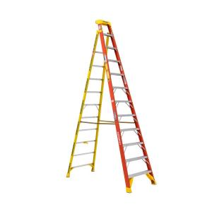 LEANSAFE 12 ft. Fiberglass Leaning Step Ladder with 300 lb. Load Capacity Type IA Duty Rating