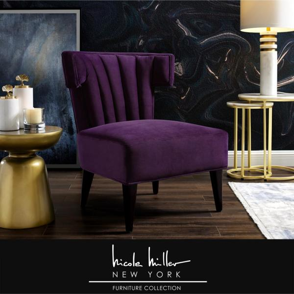 Nicole Miller Azariah Purple Velvet Accent Chair With Upholstered Armless Nac109 02pl Hd The Home Depot