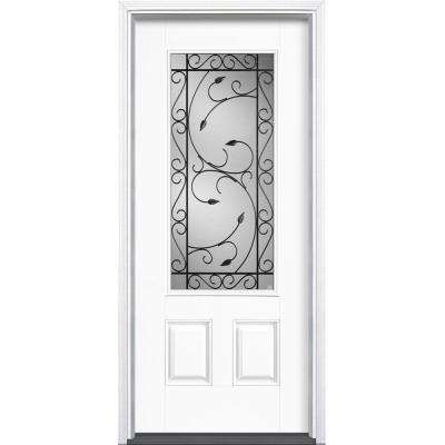 36 in. x 80 in. Pergola Ultra White 3/4 Lite Left Hand Inswing Painted Smooth Fiberglass Prehung Front Door w/ Brickmold