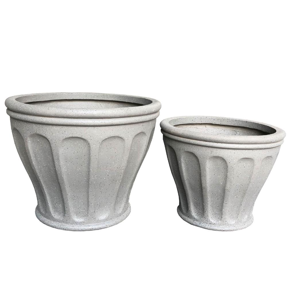 Lightweight Concrete Fluted Terrazzo Grey Planter (Set of 2)