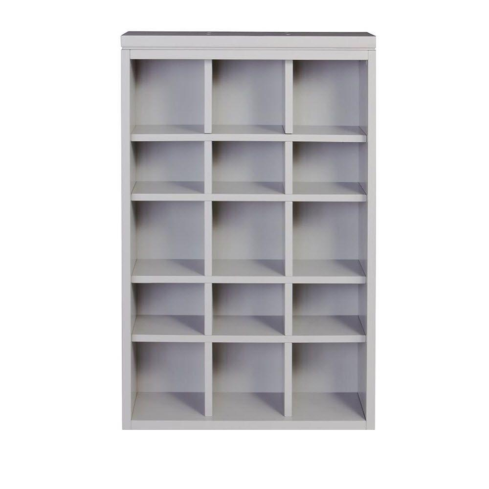 Martha Stewart Living Craft Space 34 in. x 21 in. Cement Gray 15-Cubbies Open Wall Mounted Storage