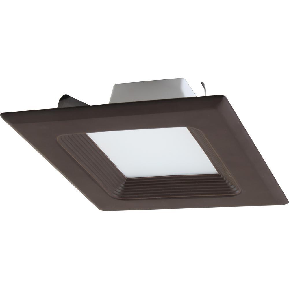 Volume Lighting 1 Light Indoor Outdoor 6 In 3000k Antique Bronze Integrated Led Recessed Retrofit Downlight And Square Trim Lens