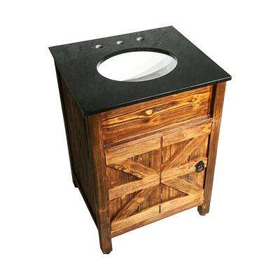 24 in. x 21 in. Barn Door Vanity in Natural Teak Finish with Granite Countertop in Black with White Basin