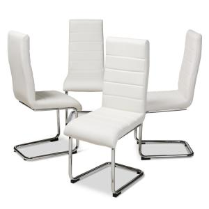 Terrific Baxton Studio Marlys White Faux Leather Upholstered Dining Ibusinesslaw Wood Chair Design Ideas Ibusinesslaworg