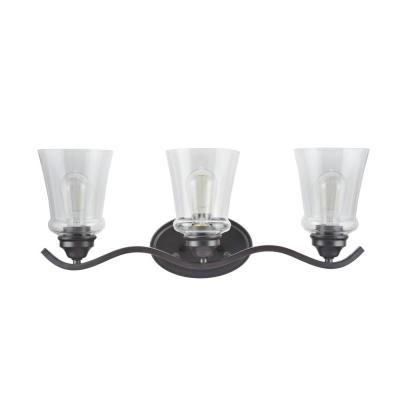 3-Light Oil Rubbed Bronze Vanity Light with Clear Glass Shade